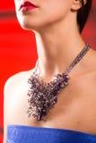 Halsband på halsen rubin och smaragd arkivfoto