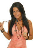 halsbandkvinna Royaltyfri Foto