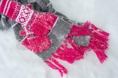 Halsduk och handskar för snö dold på snö vinter för blåa snowflakes för bakgrund vit Royaltyfria Foton