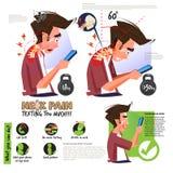 Halsen smärtar från att använda smartphonen eller att smsa för mycket Infographic höger och fel position för goda hälsor - vektor vektor illustrationer