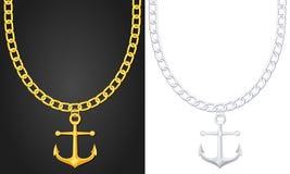 Halskette mit Anker stock abbildung