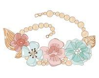 Halskette mit Blumen in den leichten Tönen Stockfotografie