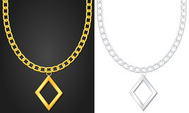 Halskette mit Diamantsymbol Stockfotos