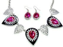 Halskette mit hellen Kristallen Schmuck und Ohrringe Lizenzfreies Stockbild