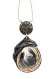 Halskette mit Schwarzweiss-Achat Lizenzfreies Stockfoto