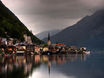 Halsttat. The small city of Halsttat, Austria, during sunset in a cloudy day, near the halsttat lake Stock Images