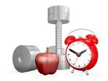 Haltère Apple et réveil Images libres de droits