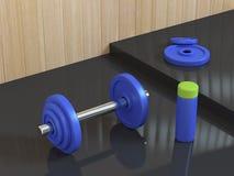 Haltère bleue avec le rendu de la scène 3d d'abrégé sur plancher de réflexion de noir de bouteille illustration de vecteur