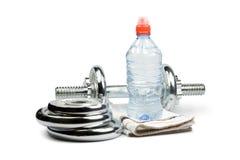 Haltère et eau Photo libre de droits