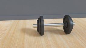 Haltère noire sur le rendu gris du mur 3d de plancher en bois illustration de vecteur