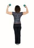 Haltères de levage d'instructeur de forme physique Photos libres de droits
