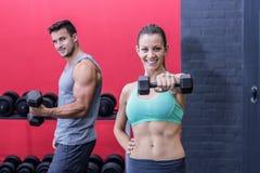 Haltères de levage de sourire de couples musculaires photos stock