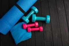 Haltères de plastique bleu et rose sur un fond en bois brun photo libre de droits