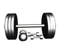 Haltères en acier et barbell Photo stock