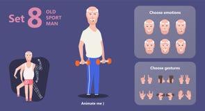Haltères première génération de vieil homme de gymnastique illustration stock