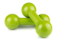 Haltères vertes pour la forme physique images stock