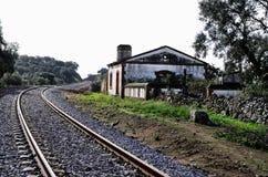 Halt en spoorwegsporen Stock Afbeeldingen
