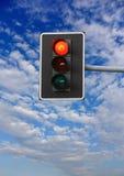Halt: green light on traffic lights. Red sign on suspended traffic lights Stock Photo