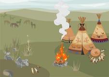 Halt Indiërs in prairie stock illustratie
