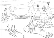 Halt Indiërs in prairie vector illustratie