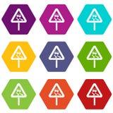 Halt när våt hexahedron för färg för vägmärkesymbolsuppsättning stock illustrationer