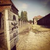 Halt!. Halt sign at Auschwitz concentration camp. (August 2015 Royalty Free Stock Photo