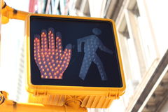 Halt signal on pedestrian crossing Stock Photo