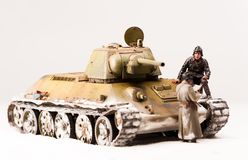 Halt of soviet t 34 tank crew Royalty Free Stock Photo
