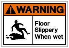 Halt varnande golv när vått symboltecken, vektorillustration, isolat på den vita bakgrundsetiketten EPS10 stock illustrationer