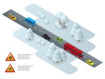 Halt, is, vinter, snöväg och bilar Varningssnö Vinterkörnings- och vägsäkerhet mött stads- stationsdrevtransport royaltyfri illustrationer