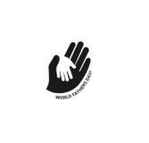 Halten der Hand eines Kindes in der Hand eines erwachsenen Vektorlogos Weltvater Day Symbol von Sorgfalt, Güte, Familie Lizenzfreie Stockbilder