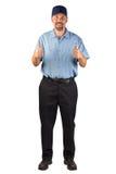 Halten Sie den Mann instand, der mit den Daumen oben genehmigt Lizenzfreie Stockfotografie