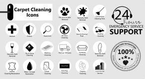 Halten Sie die eingestellten Ikonen instand Teppich-Reinigung lizenzfreie abbildung