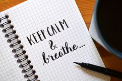 HALTEN Sie DIE RUHE UND BREATHE hand-mit Buchstaben gekennzeichnet im Notizbuch stockfotografie