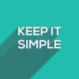 Halten Sie es einfache moderne flache Typografie Stockbild