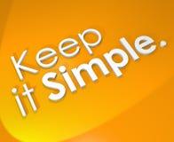 Halten Sie es einfacher Hintergrund-einfache Leben-Philosophie des Wort-3D Lizenzfreie Stockfotografie