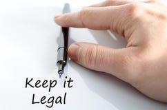 Halten Sie es Gesetztextkonzept stockbild