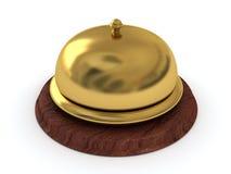 Halten Sie goldene Glocke des Ringes auf hölzernem Standplatz instand Stockfotografie
