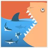 Halten Sie Haifische Vektorsymbolplakat Stockfotos