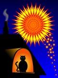 Halten Sie Haustiere zuhause während der Feuerwerke. lizenzfreie abbildung