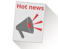 Halten Sie in Ihrer Hand eine Zeitung Wichtige Nachrichten megaphon Stock Abbildung