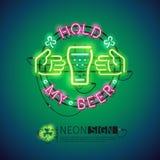Halten Sie meine Bier-Leuchtreklame bunt Lizenzfreie Stockbilder
