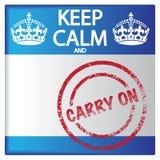 Halten Sie Ruhe und Carry On Badge Lizenzfreies Stockbild