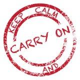 Halten Sie Ruhe und Carry On Stamp Stockfoto