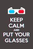 Halten Sie Ruhe und setzen Sie Ihre Gläser Stockbild