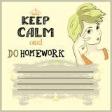 Halten Sie Ruhe und tun Sie Ihre Hausarbeit Lizenzfreies Stockbild