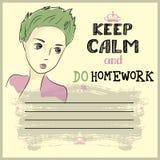 Halten Sie Ruhe und tun Sie Ihre Hausarbeit Stockfotos
