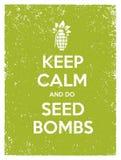Halten Sie ruhig und säen Sie Bomben Stadt-Gartenarbeittätigkeits-Vektor Eco-Plakat-Konzept Stockfotos