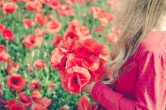 Halten von wilden roten Blumen Lizenzfreie Stockbilder