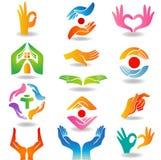 Haltene und schützende Hände Stockfotos